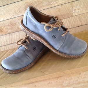 Born Lace Oxford Women 6.5 Blue Gray Leather Lace